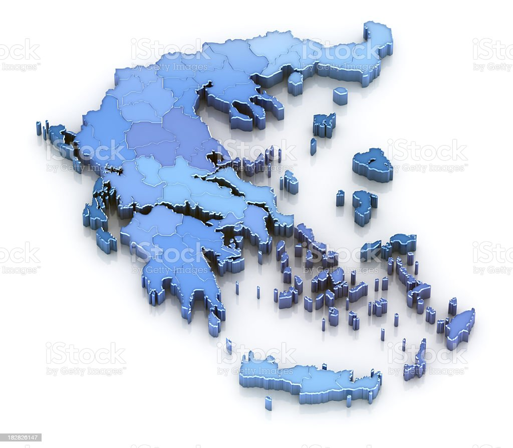 Greece map with peripheries royalty-free stock photo