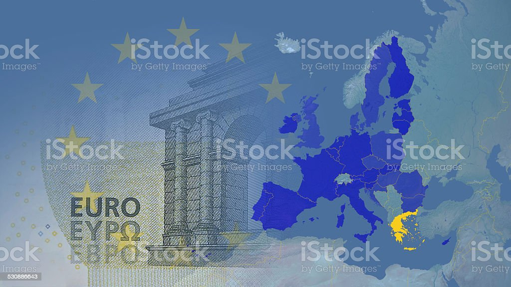 Greece member Eurozone since 2002 16:9 stock photo