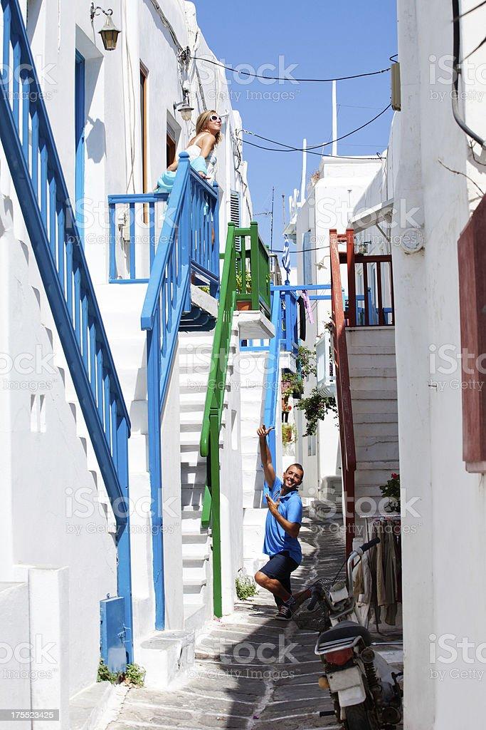 Greece - Mykonos Romantic Couple royalty-free stock photo