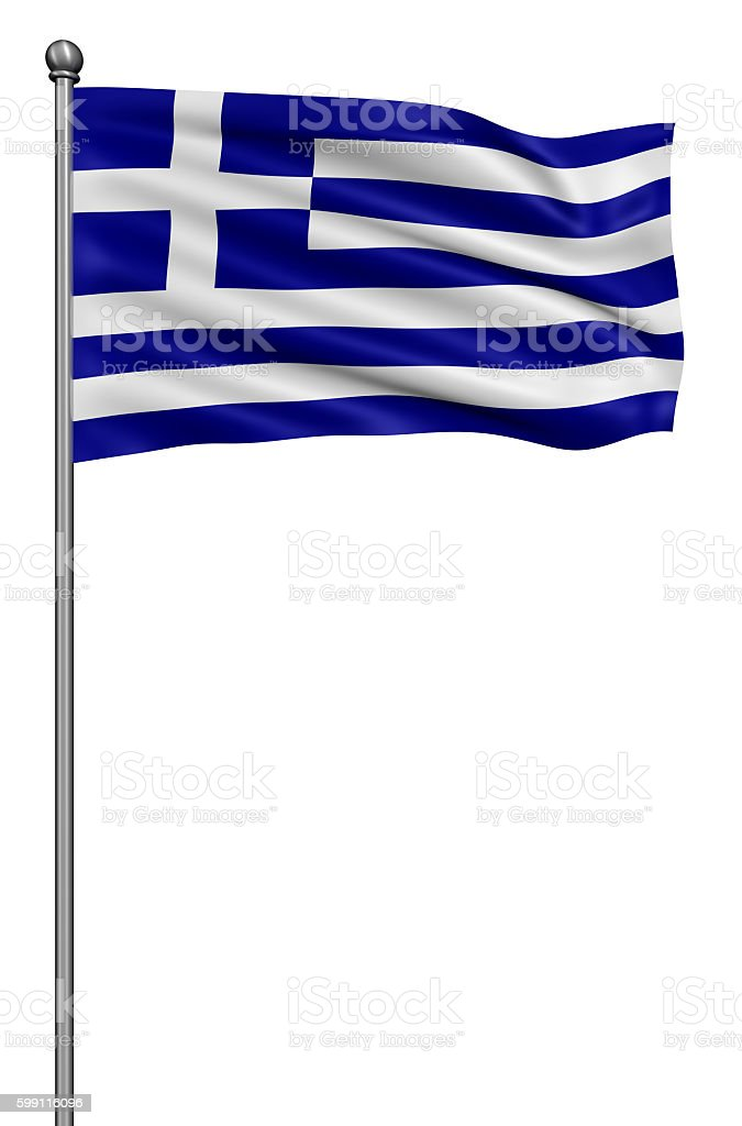 Greece national flag waving in the wind. stock photo