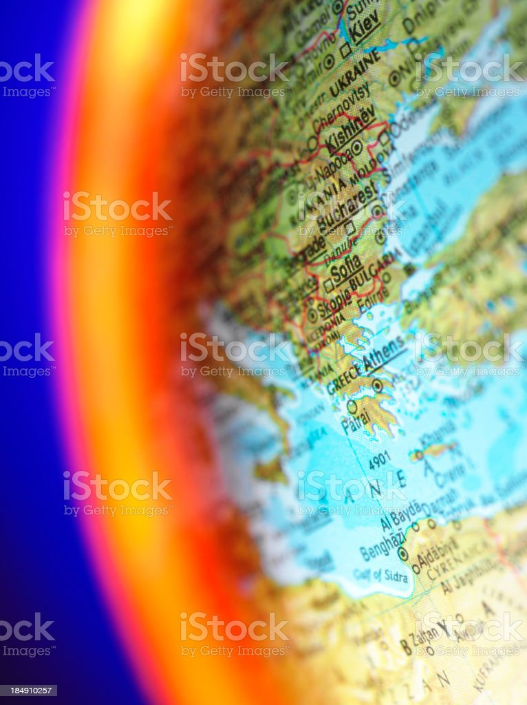 Greece on a World Globe royalty-free stock photo