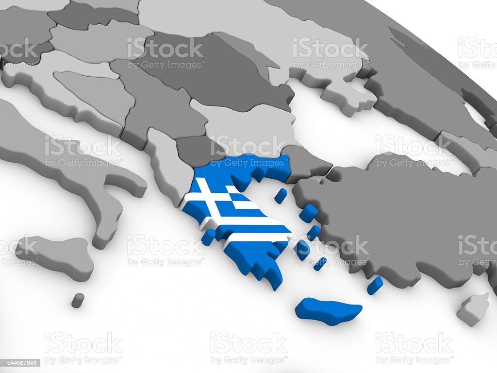 Greece on globe with flag stock photo