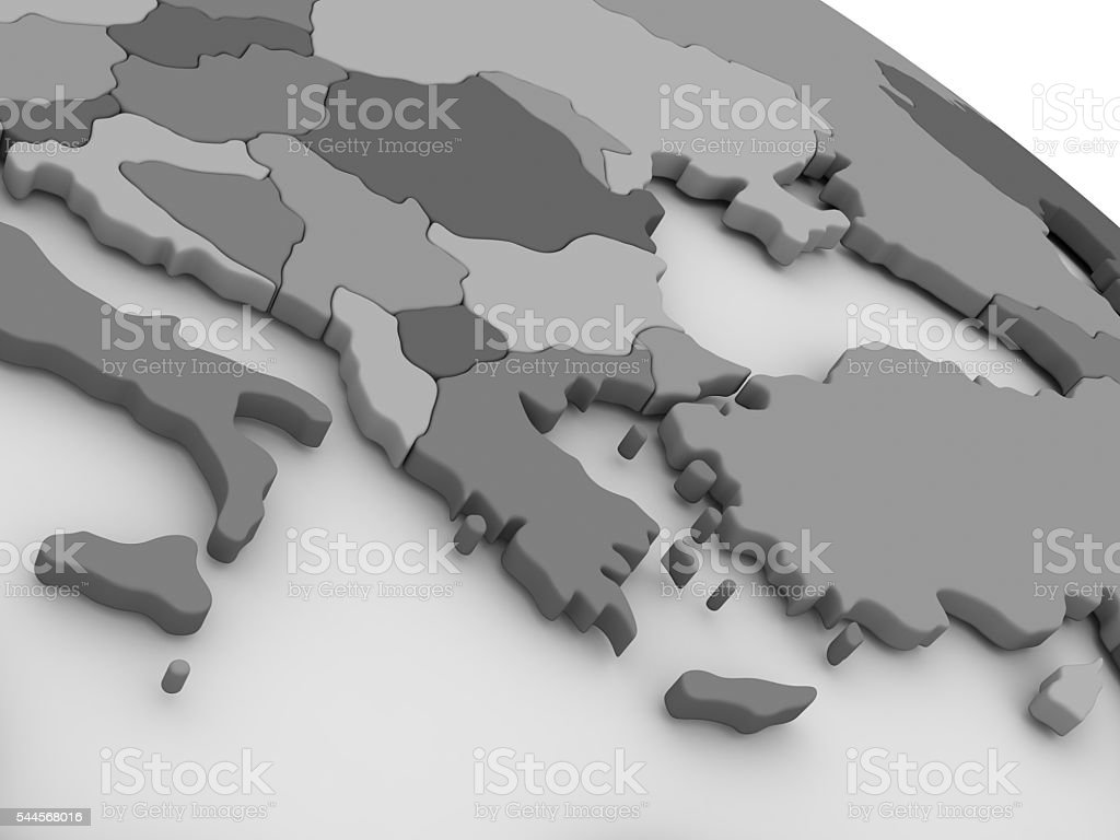 Greece on grey 3D map stock photo