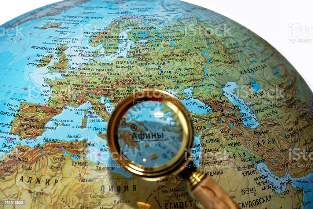Greece on Russian globe stock photo