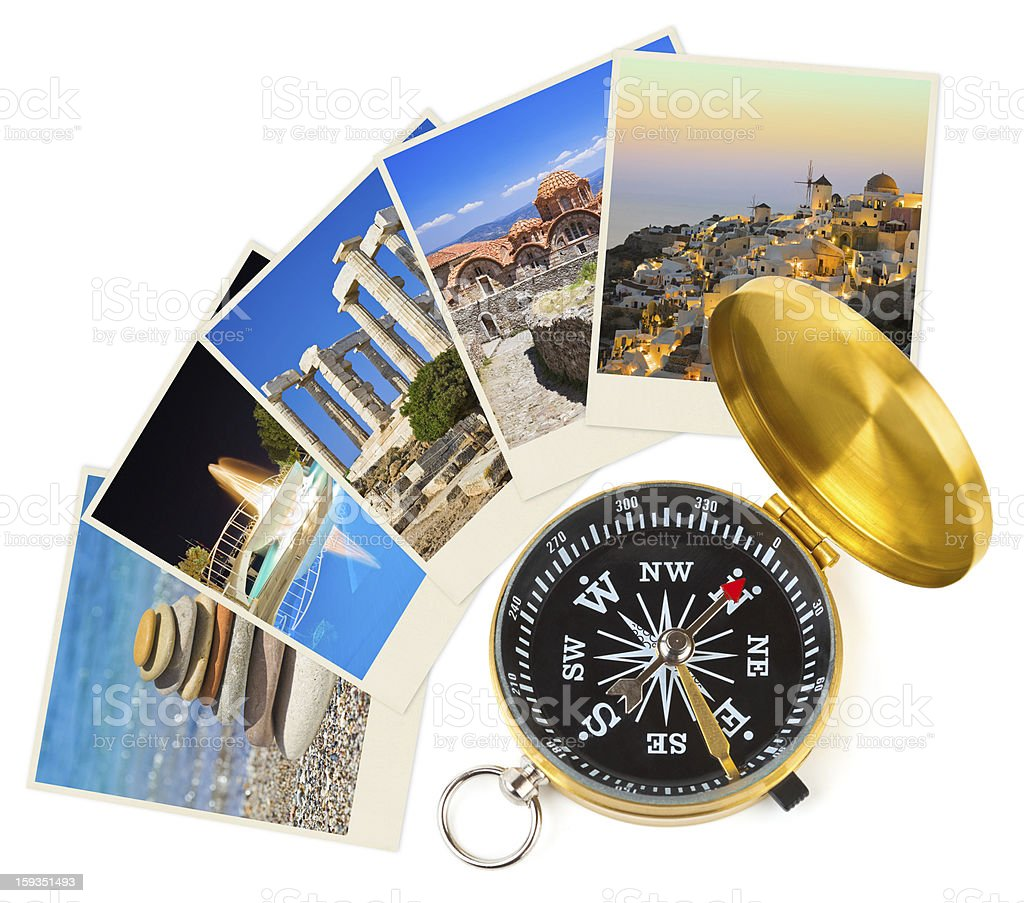 Greece photography and compass royalty-free stock photo