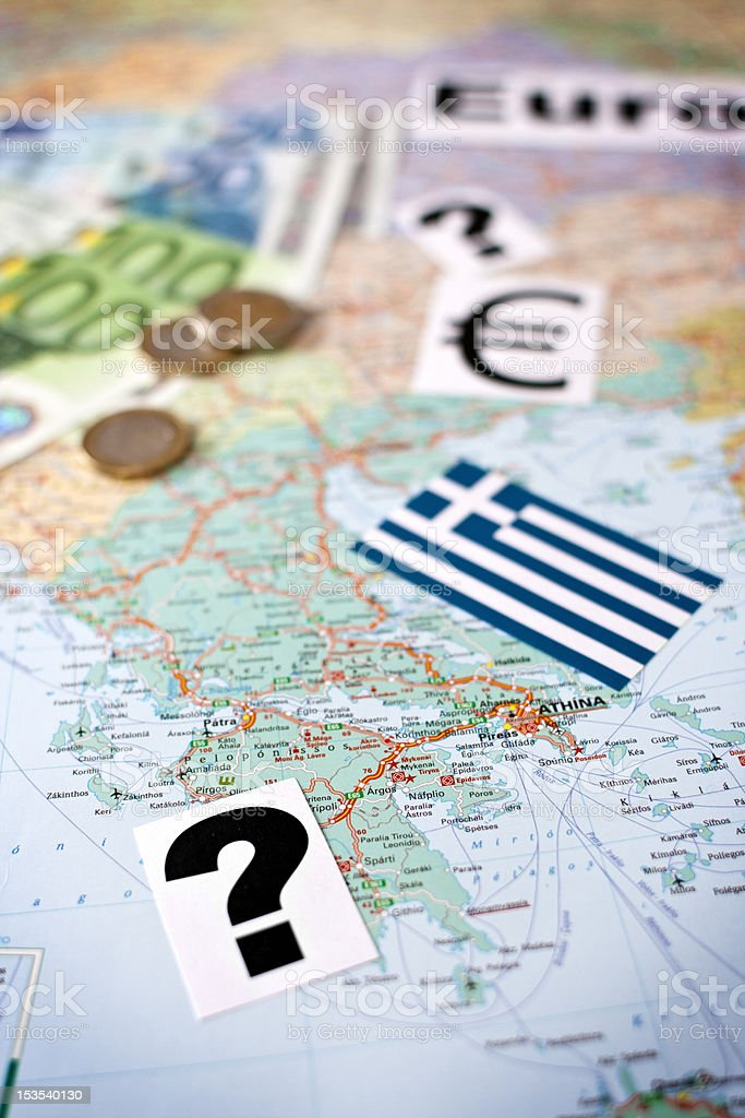 Greece  €  Question Mark royalty-free stock photo