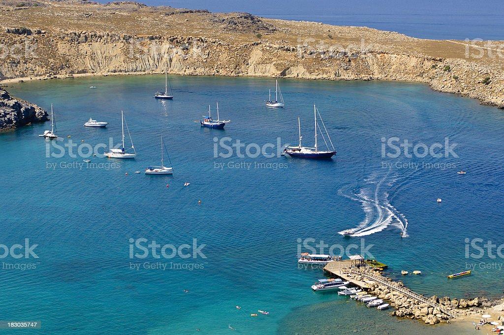 Greece, Rhodes, Lindos - main bay stock photo