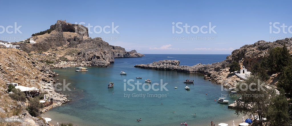 Greece, Rhodes, Lindos St. Pauls bay stock photo