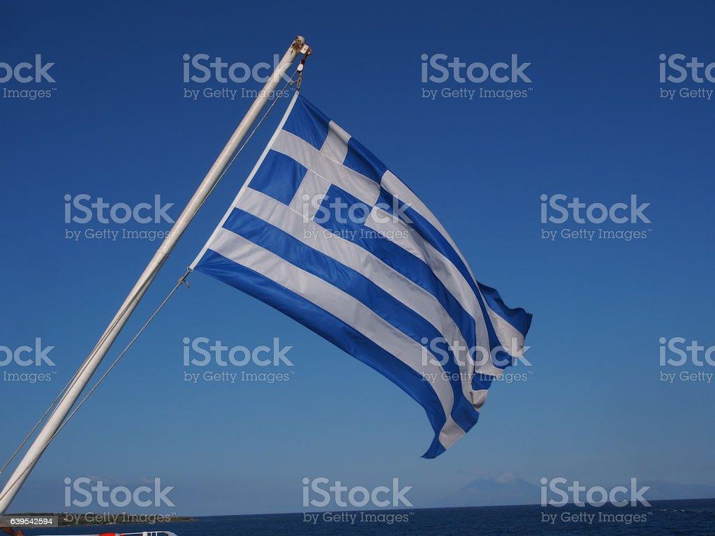 Greece ships flag waving on the wind stock photo