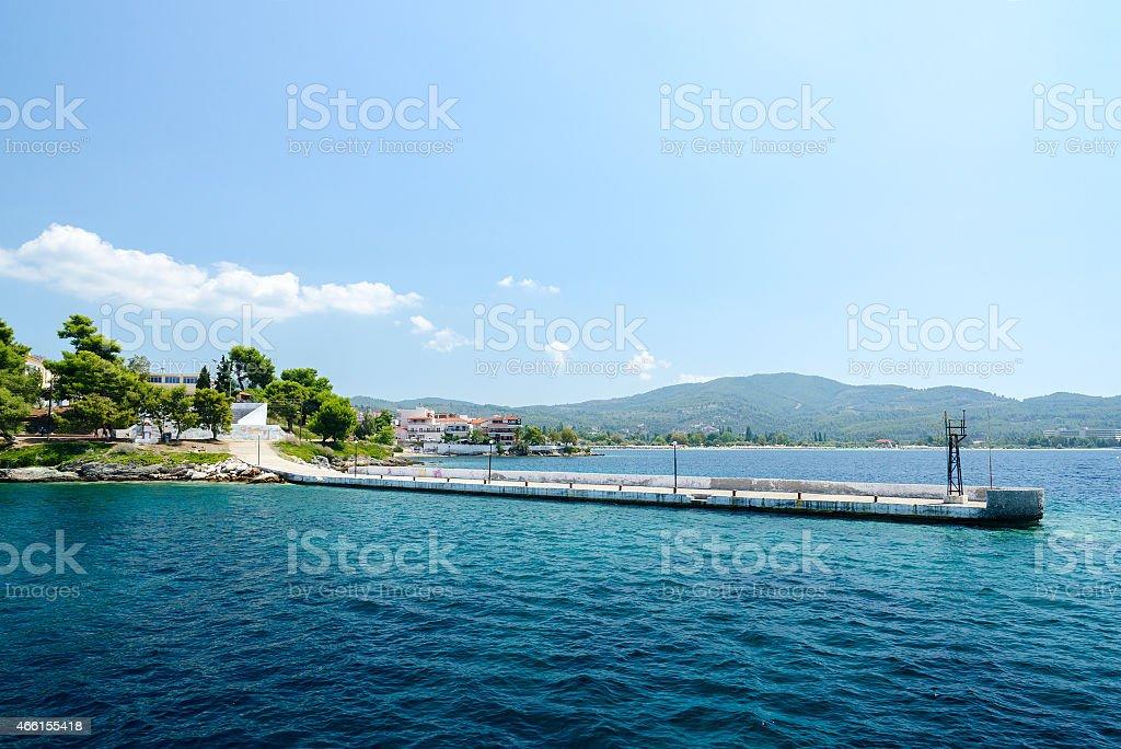 Greece, Sithonia, old pier in Neos Marmaras stock photo