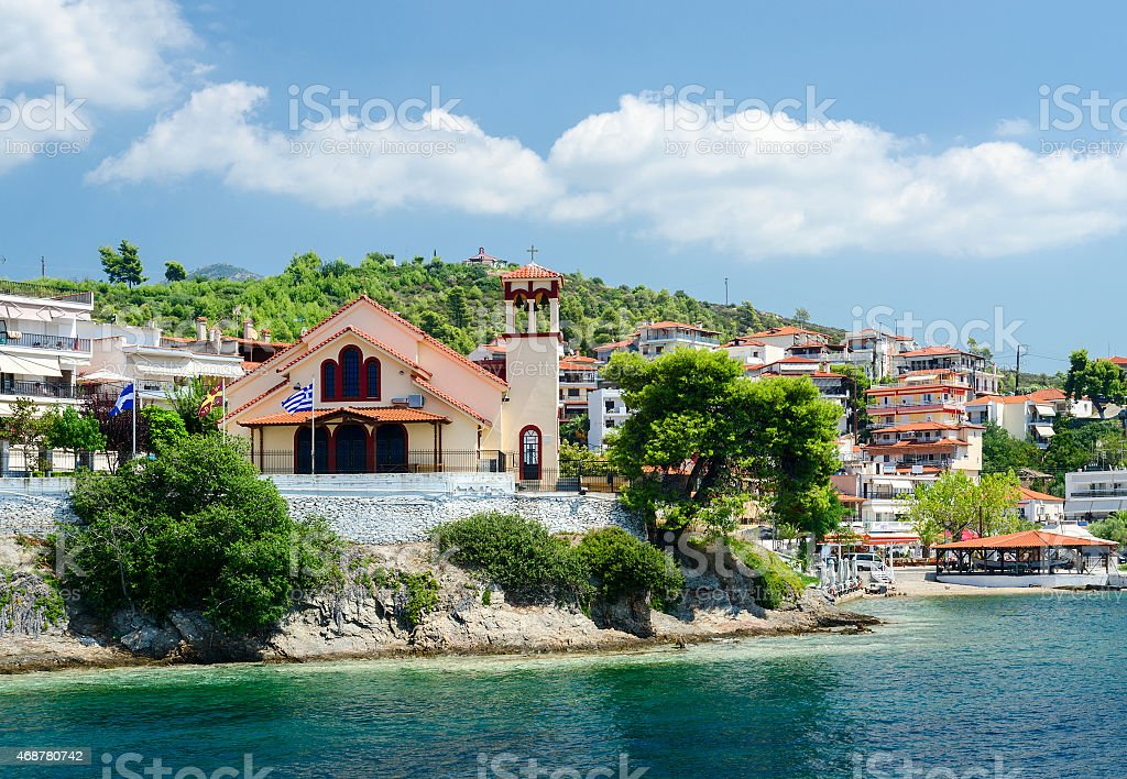 Greece, Sithonia, view of church on waterfront in Neos Marmaras stock photo