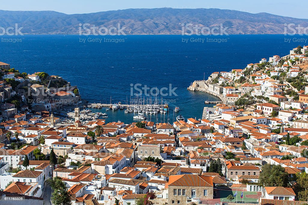 Greece - top view of city center and yaht marina. stock photo