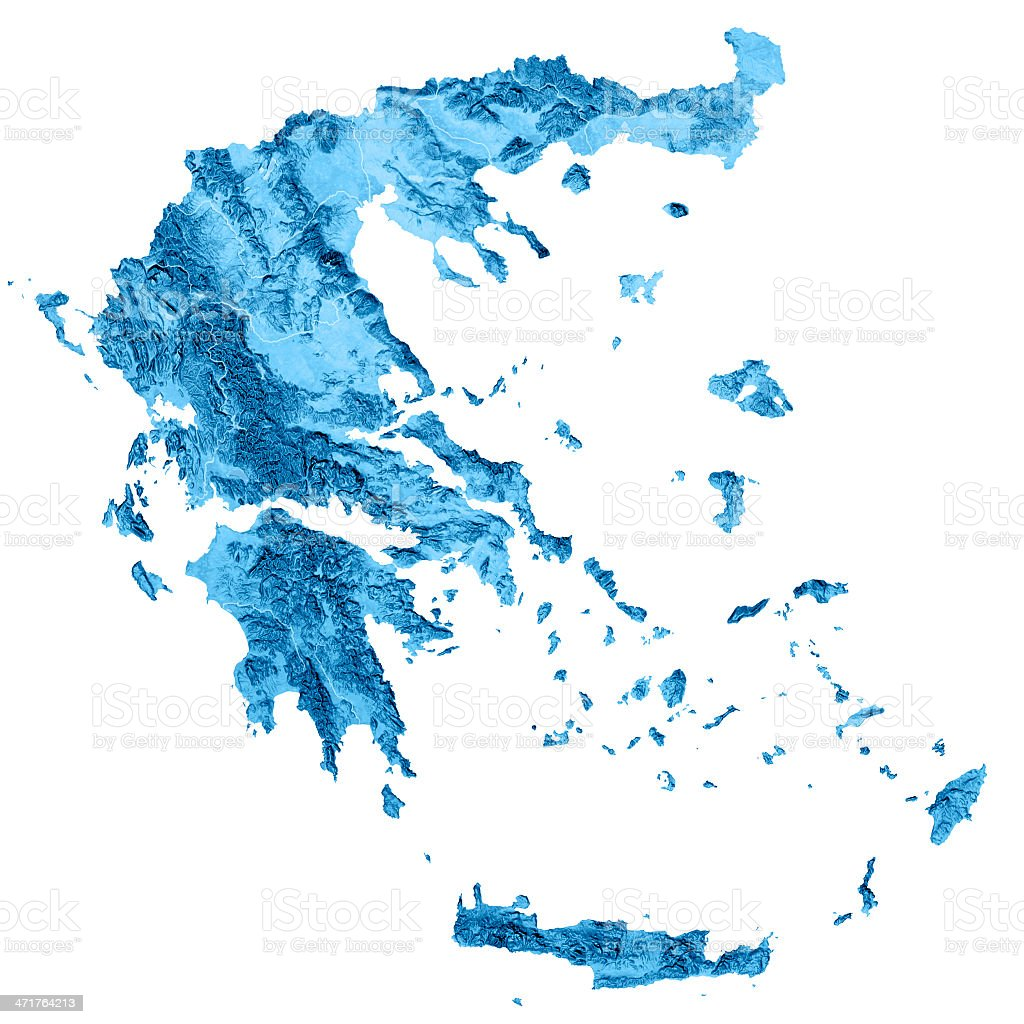Greece Topographic Map Isolated royalty-free stock photo