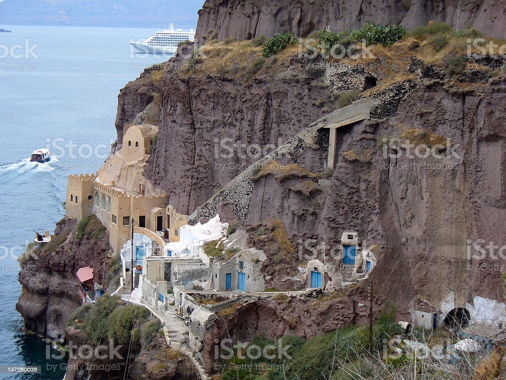 Greece Town on a Cliff royalty-free stock photo