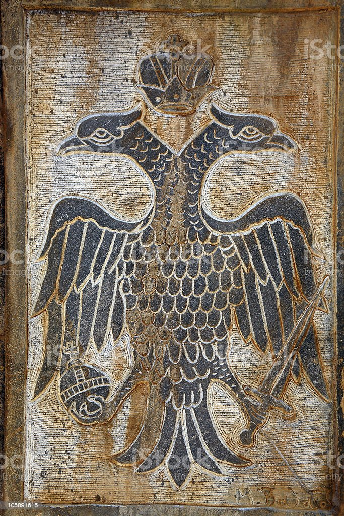 Greece, two headed eagle relief stock photo