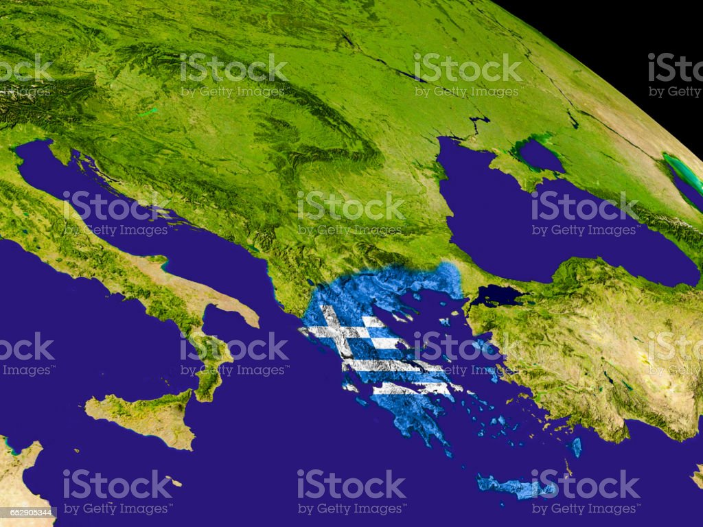 Greece with flag on Earth stock photo