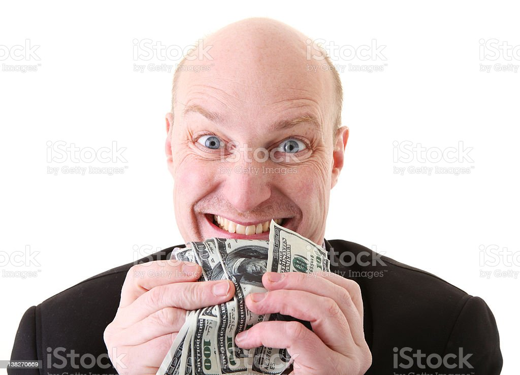 greed avarice dollars stock photo