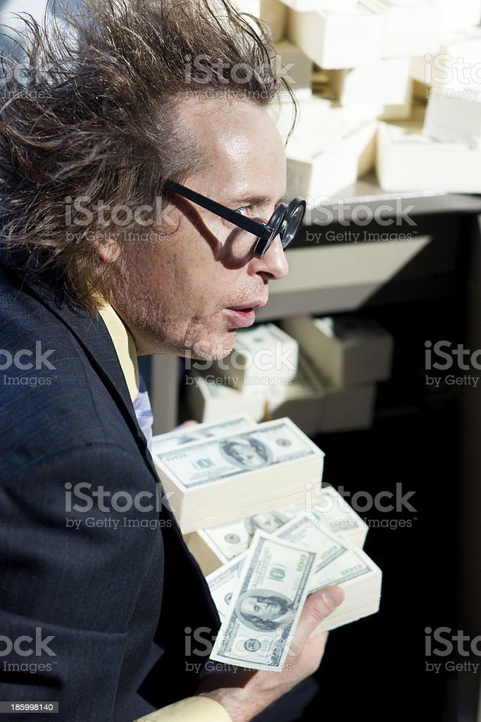 Greedy banker stock photo