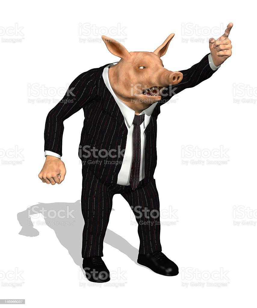 Greedy Demanding Business Pig royalty-free stock photo