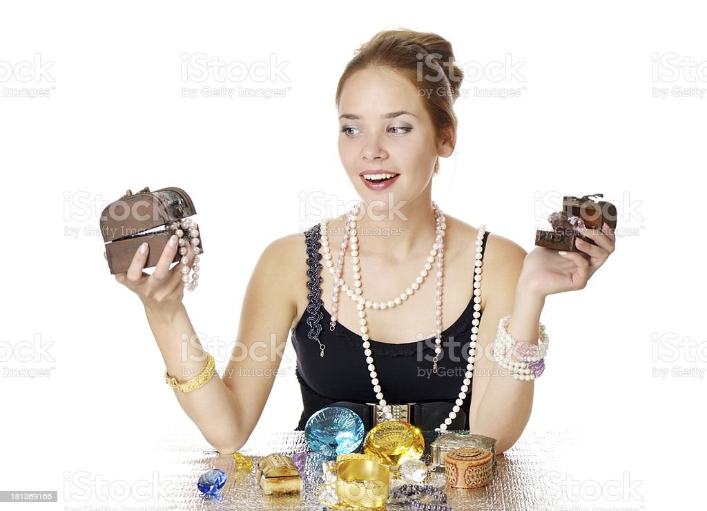 Greedy for jewelry royalty-free stock photo