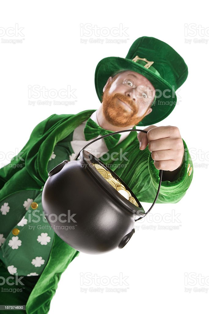Greedy Leprechaun stock photo