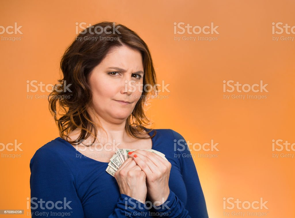 greedy middle aged woman corporate business employee, worker, stock photo