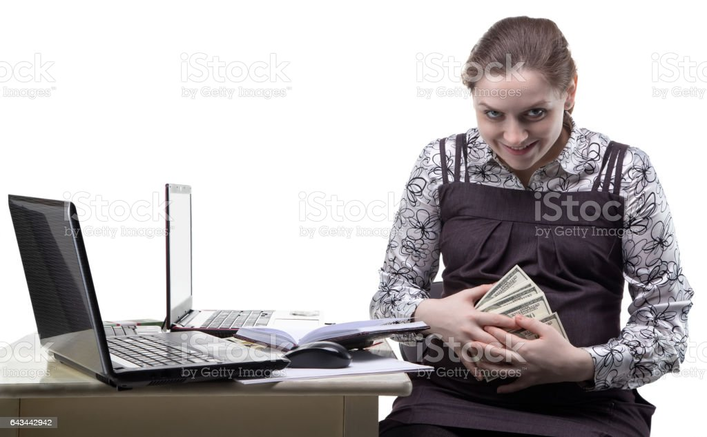 Greedy pregnant woman with dollars stock photo