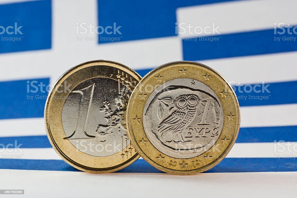 Greek 1 Euro coins, Flag of Greece stock photo