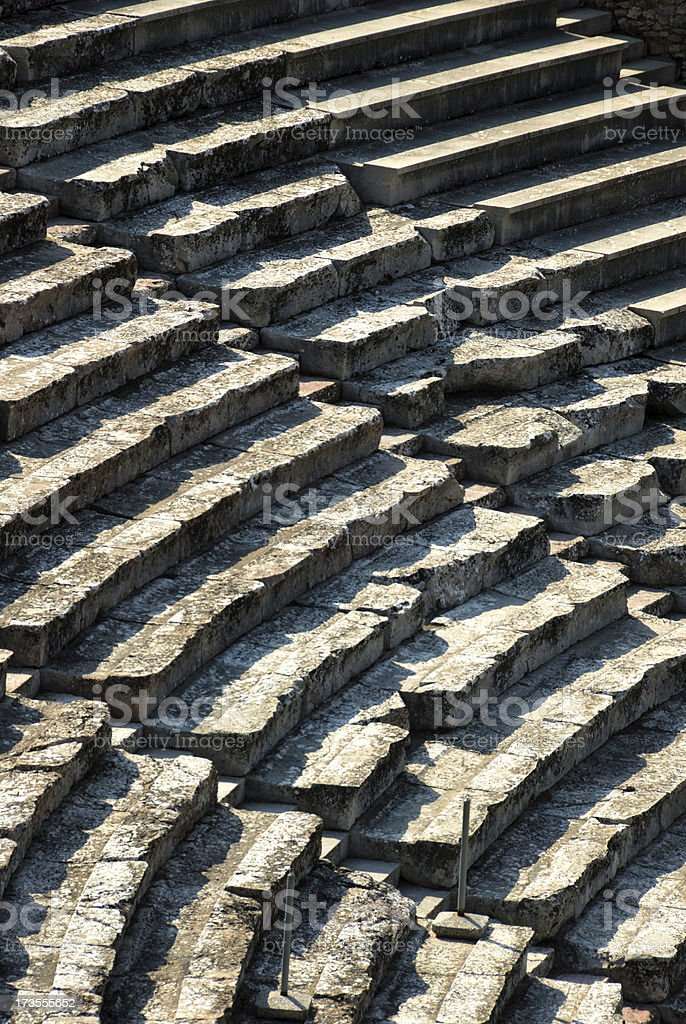 Greek amphitheater seats royalty-free stock photo