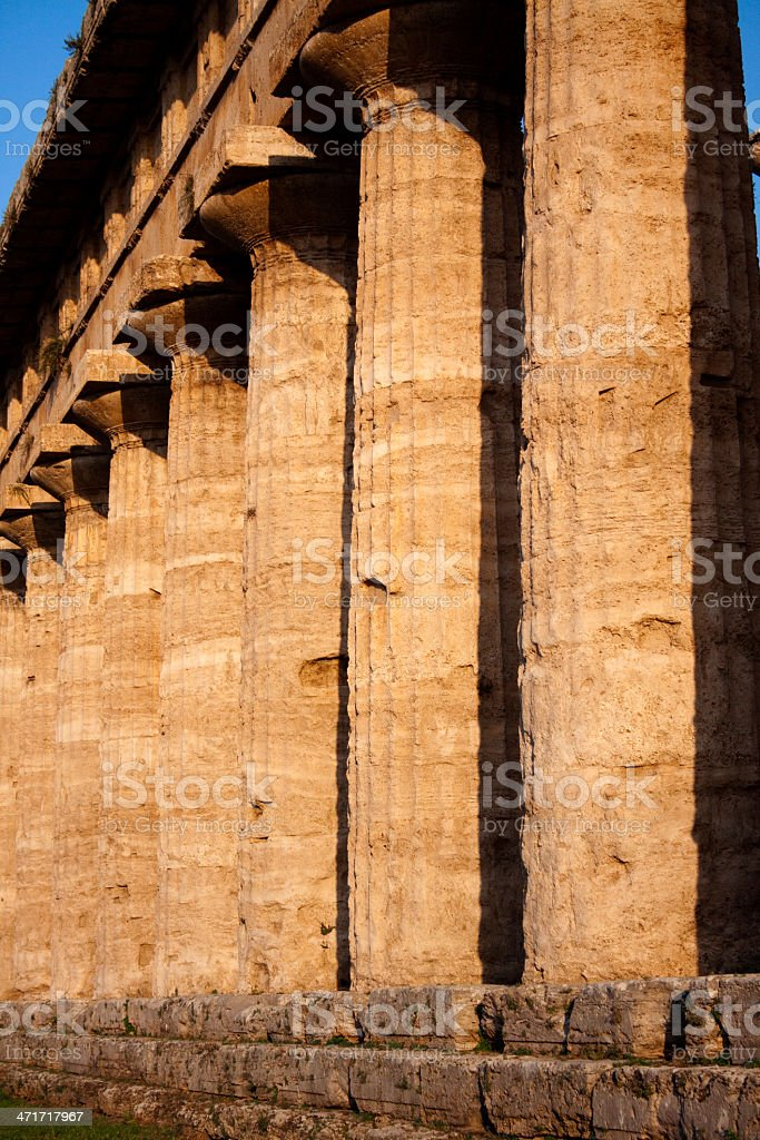Greek ancient columns from Hera temple in Paestum, Italy royalty-free stock photo