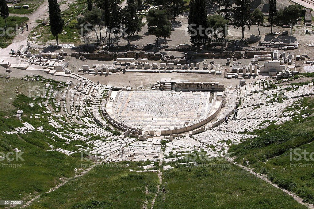 Greek ancient theater  of  Dionysus stock photo