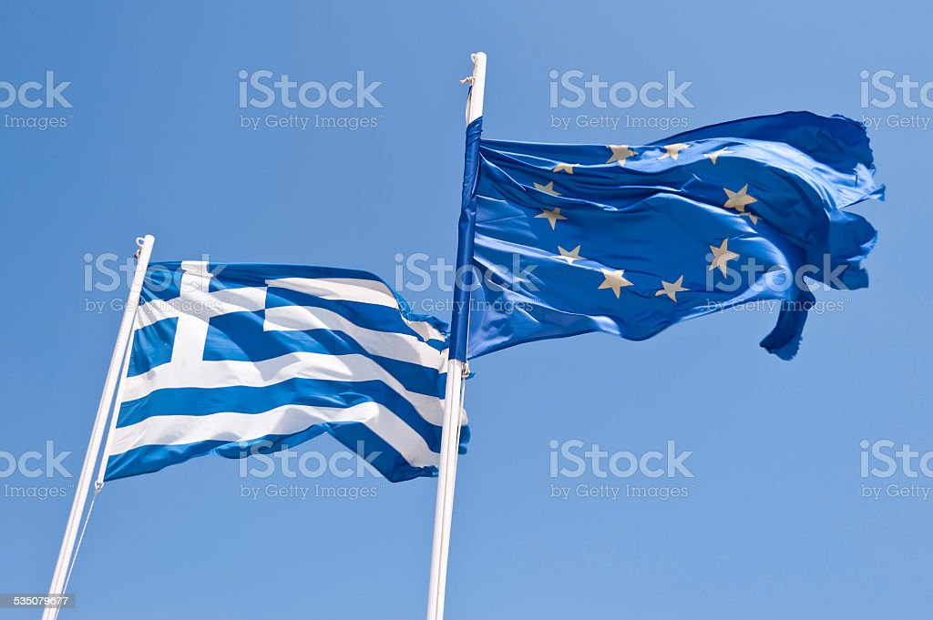 Greek and european flag stock photo