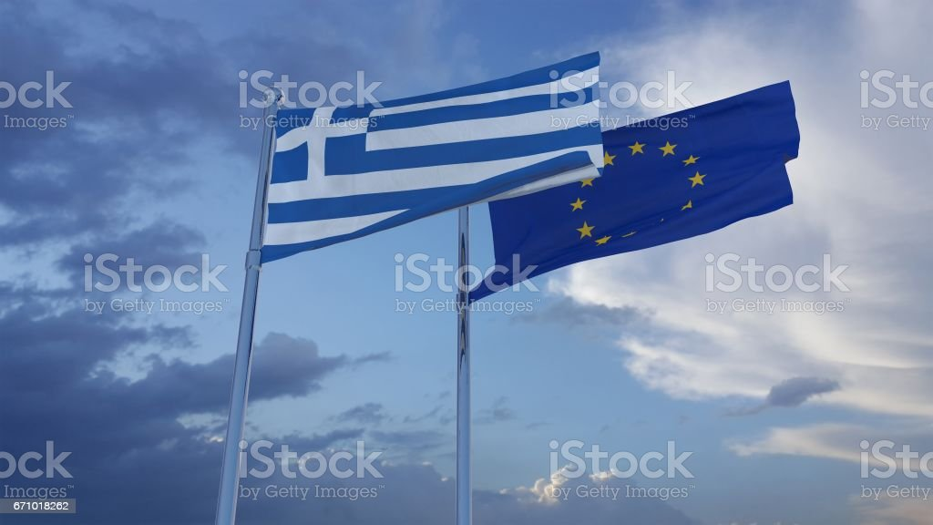 Greek and European Union Flags stock photo