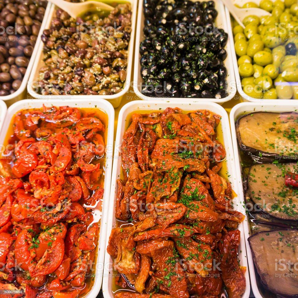 Greek  antipasti.  antipasti  on the market stock photo