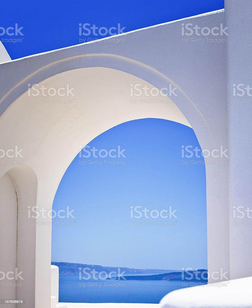 Greek arcade with view on Santorini Caldera royalty-free stock photo