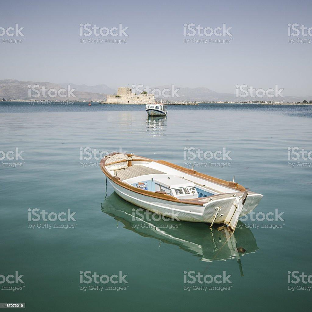 Greek boats stock photo