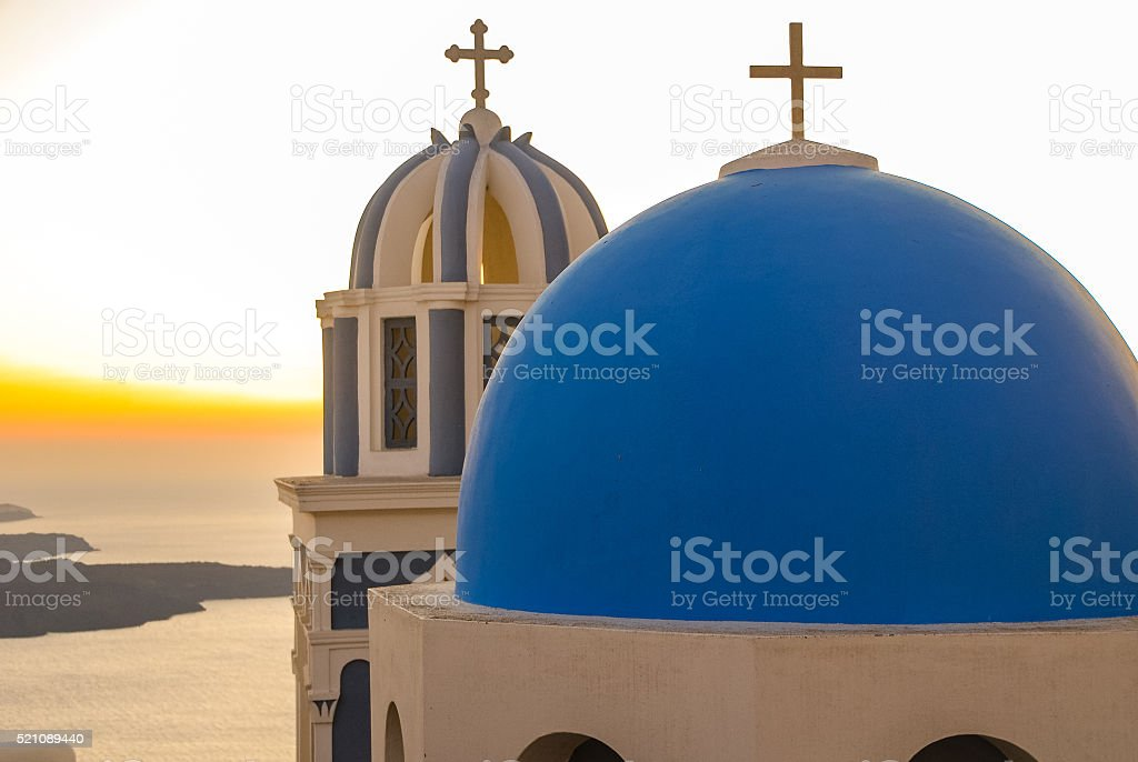 Greek Chapel and Belltower stock photo