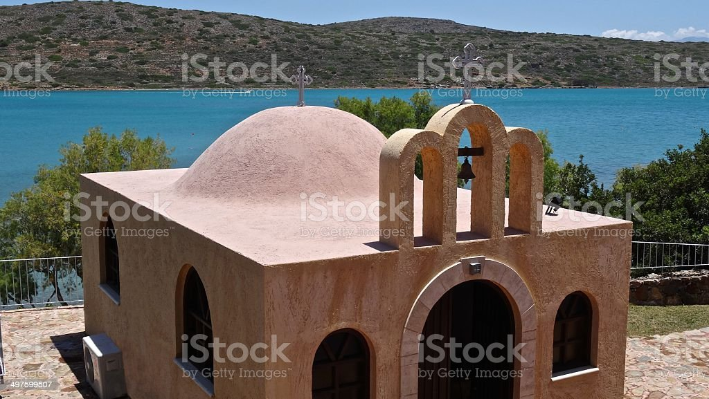 Greek church, against a background of the sea royalty-free stock photo