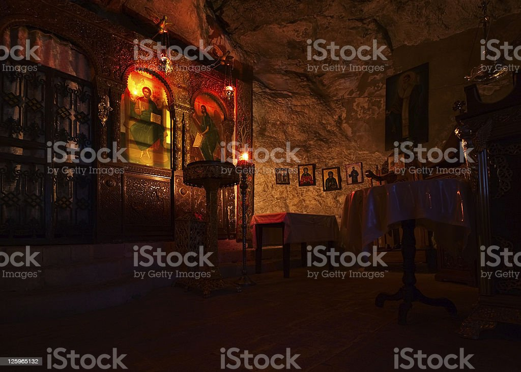Greek church interior royalty-free stock photo