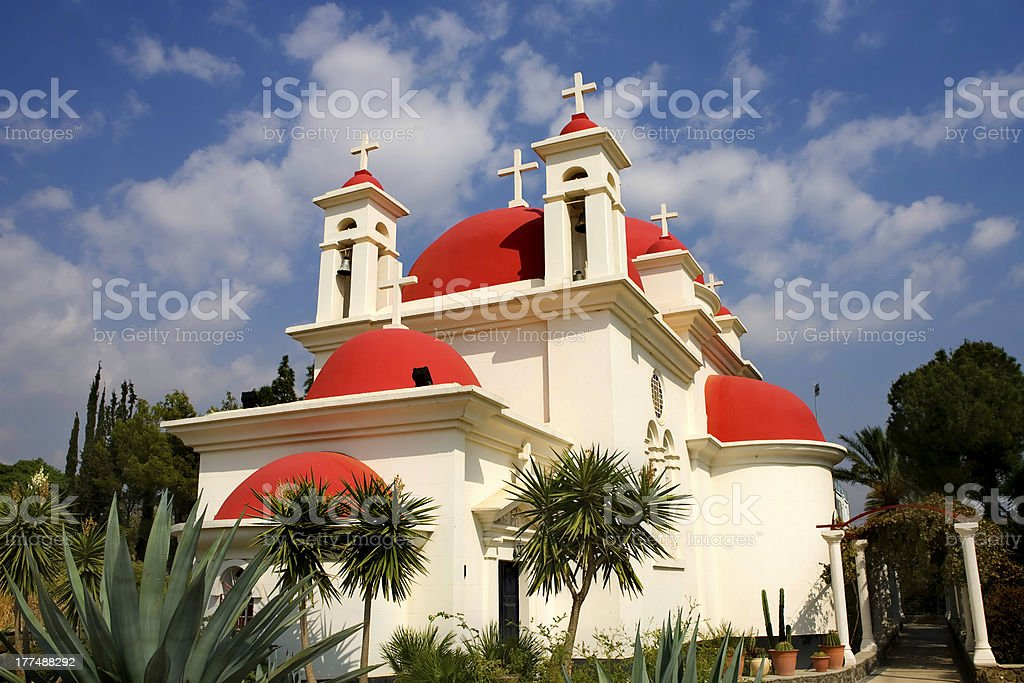Greek Church of the 12 Apostles, Capernaum . Israel. stock photo