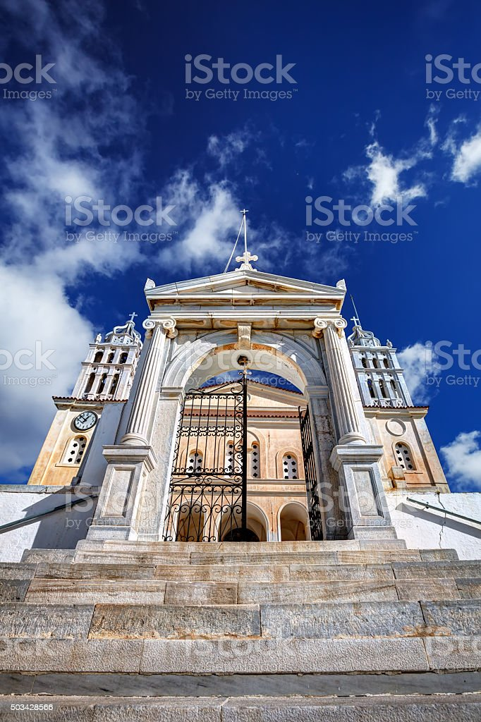 Greek church with marble belfries in Paros island, Greece stock photo