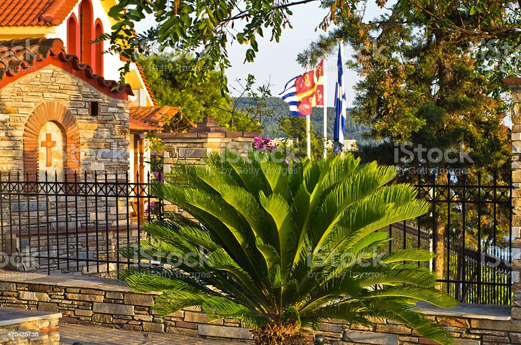 Greek church yard in a city of Neos Marmaros, Sithonia stock photo