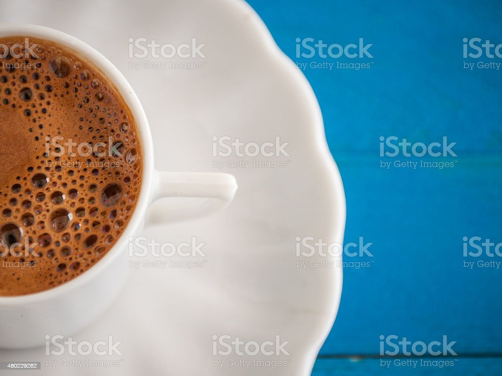 greek coffee in a blue table stock photo