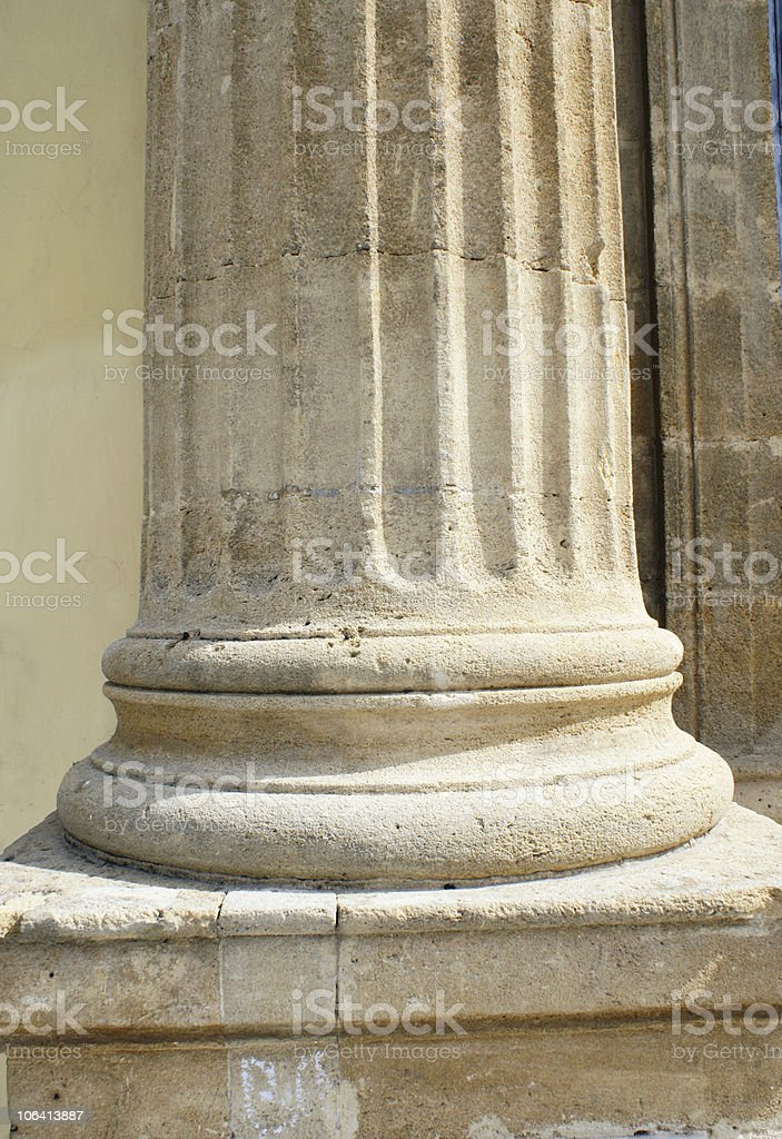 Greek column detail of its base stock photo