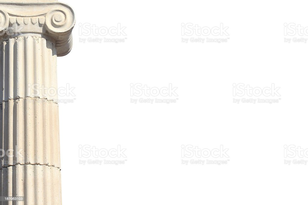 Greek column with copyspace stock photo