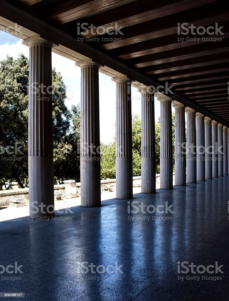 Greek columns reflection royalty-free stock photo