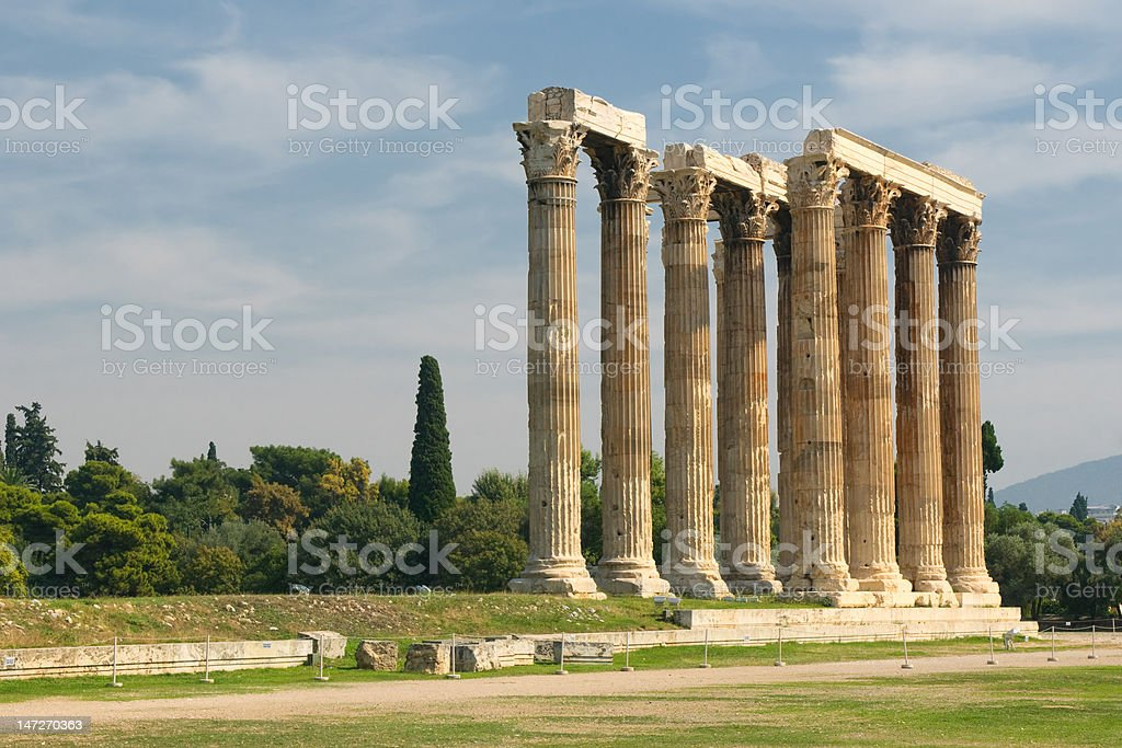 Greek columns, Temple of Olympian Zeus, Athens royalty-free stock photo