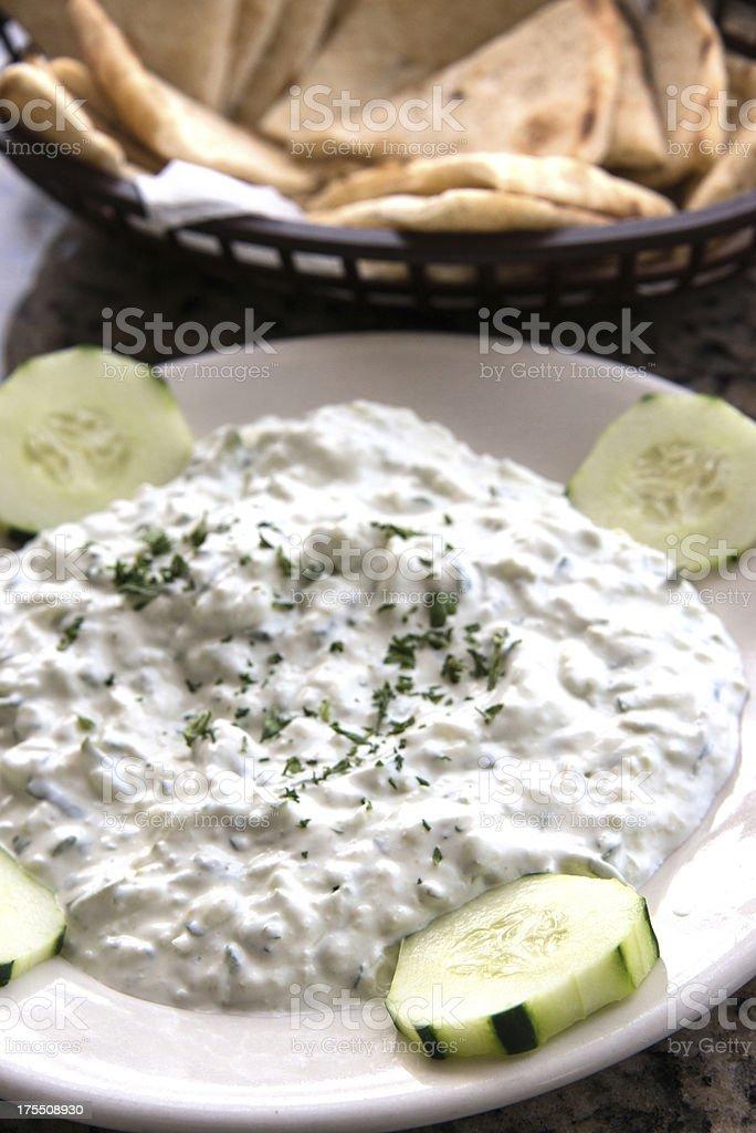Greek Cucumber yogurt salad stock photo