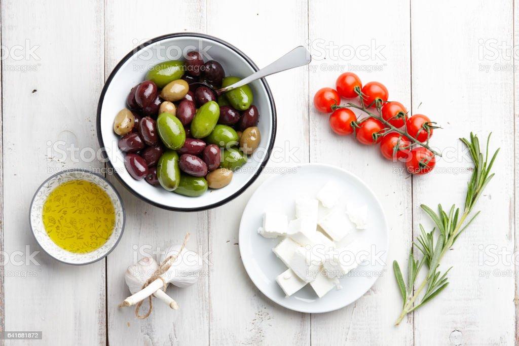 Greek cuisine ingredients stock photo