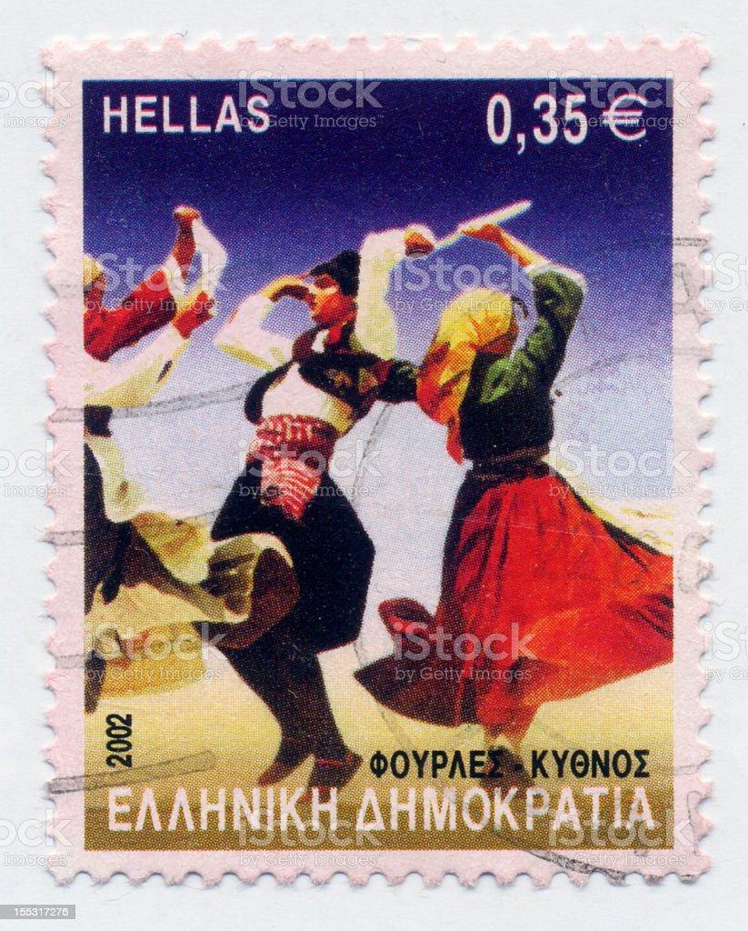 Greek Dancing Stamp royalty-free stock photo